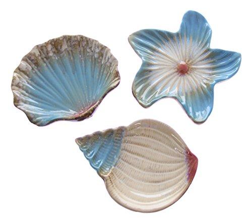 3-Piece Ocean Seashell Serving Plate/Soap Dish Set - Appetizer Shell Dish