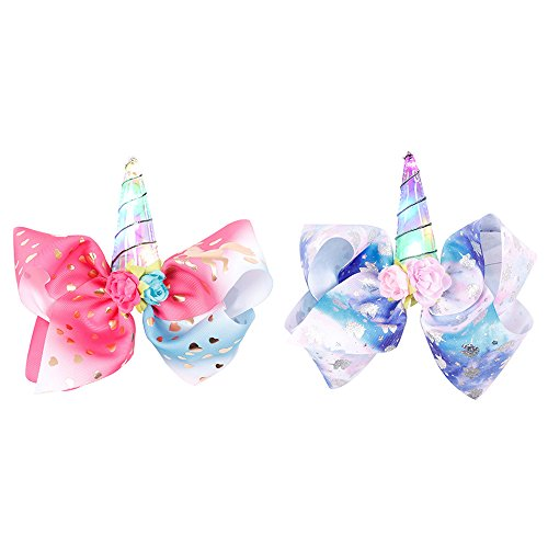 2 PC Unicorn LED Headbands For Children Flashing Lights Halloween Christmas Dress Up Party (Red & Blue)