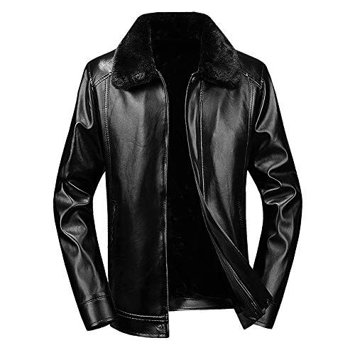 Clearance Sale ! Men Leather Coat,Vanvler Male Short Fleece Jacket Thermal Winter Warm Outwear Thickened (L, Black)