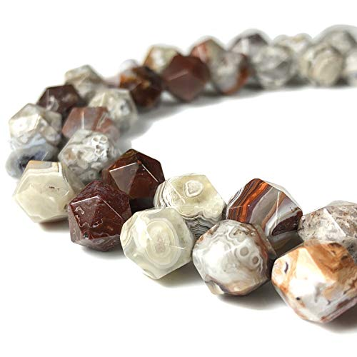 [ABCgems] Mexican Laguna Lace Agate (Hybrid of Crazy Lace Agate & Laguna Agate) 10mm Precision-Star-Cut Beads for Beading & Jewelry Making