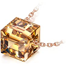 """NINASUN ♥Graduation Gifts ♥ Necklace Beautiful Life 925 Sterling Silver 0.31"""" Cube Pendant Necklace, Crystals from Swarovski"""