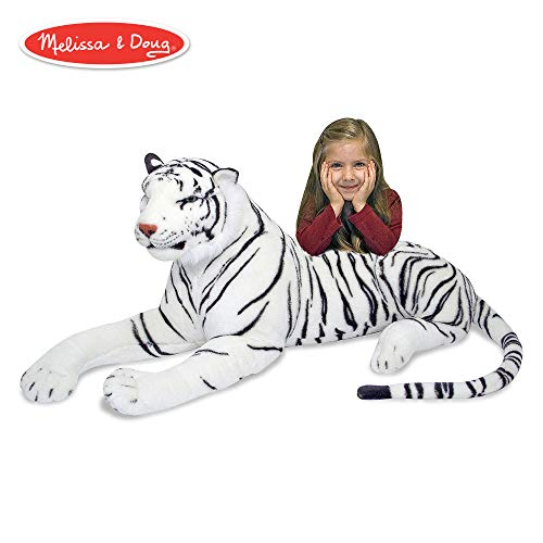 Melissa & Doug White Tiger Giant Stuffed Animal (Wildlife, Soft Fabric, Beautiful Tiger Markings, 20