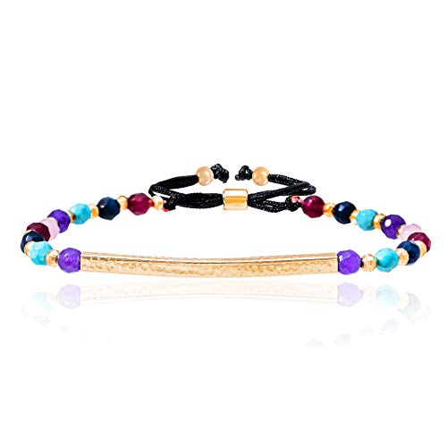 (WILLOWBIRD Bar and Rainbow Chakra Balancing Bracelet for Women with Healing Beads in Rose Gold Plated 925 Sterling Silver (Rose Multi))