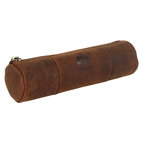 Vintage Leather Zippered Pen Pencil Pouch Gift for Men Women ~ Carry Charcoal Marker Color Brush Bag for Artist Students ~ Craft Tool Kit ~ For Colleg…