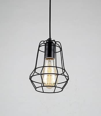 Lightess Vintage Hanging Pendant Light Industrial Loft Chandelier Iron Wire Cage Guard Lighting Fixture With 1 Light