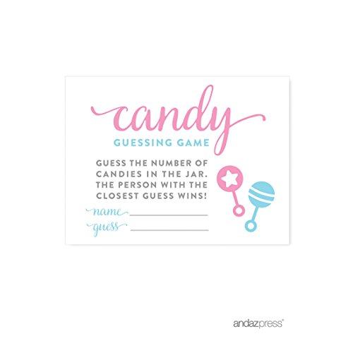 Andaz Press Team Pink Team Blue Gender Reveal Baby Shower Party, Candy Guessing Game Cards, 30-pack ()