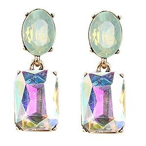 Bohemian Stud Earrings Women Wedding Jewelry Boho Statement Rhinestone Earrings Light Green