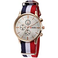 Luxury Lady Watches Classics Canvas Band Analog Watch Quartz Wrist Watches Gift (D)