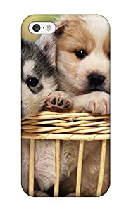 New Arrival BRIZWKW3153XhMLx Premium Iphone 5/5s Case(two Puppies In A Basket)(3D PC Soft Case)
