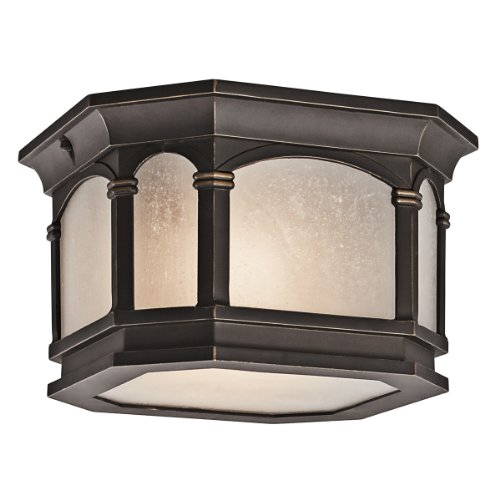 Gold Hill Flush Fixture (Kichler Lighting 49035RZ Nob Hill 2-Light Exterior Flush Mount, Rubbed Bronze Finish with Etched Seedy Glass)