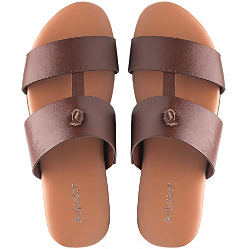 Aukusor Wide Width Summer Flat Sandals - Cozy Memory Foam Insole Skid-Proof Slippers.(180111 BrownPU,10.5)