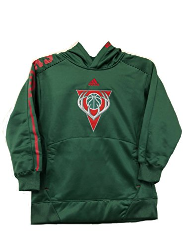 Milwaukee Bucks NBA Adidas Youth Hunter Green Embroidered Pullover Hooded Sweatshirt (Size Small 8) by adidas