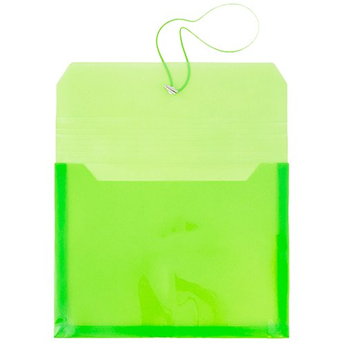 JAM PAPER Plastic Expansion Envelopes with Elastic Band Closure - Letter Booklet - 9 3/4 x 13 with 2.5 Inch Expansion - Lime Green - Sold Individually by JAM Paper (Image #2)