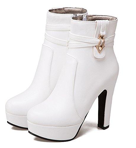 Femme Fermeture Style Bottines Aisun Blanc Eclair Mode Strass dq8BxZw