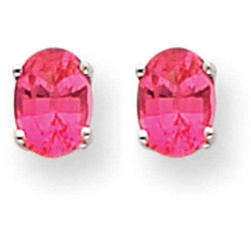 Oval Spinel Earrings - 14k Gold Oval Pink-Spinel Stud Earrings (7mm x 5mm) - (White-Gold)