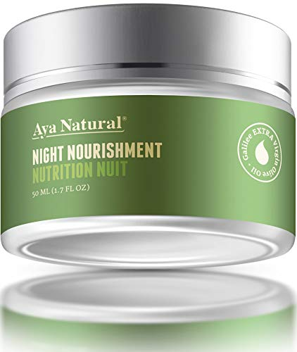 41XV3R27uML - All Natural Night Cream Face Moisturizer - Vegan Anti Aging Night Time Anti Wrinkle Dark Spot Corrector for Dry Skin by Aya Natural