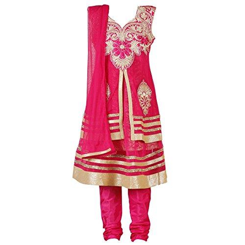 Ashwini Girls Netted Embroidery Pink Salwar Salwar Kameez Suit