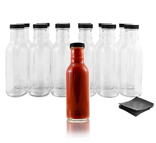 Wide Mouth Empty Sauce Bottles 12oz (12 Complete Bottles) Complete Set of Bottles with Shrink Sleeve, Bottles, and Lids (12 Pack)