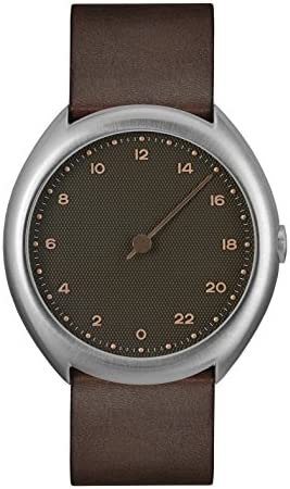 slow O 08 – Swiss Made one-hand 24 hour watch – Silver with dark brown leather band
