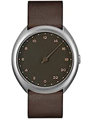 slow O 08 - Swiss Made one-hand 24 hour watch - Silver with dark brown leather band