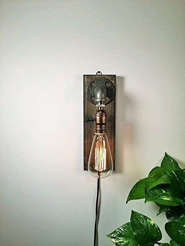 Industrial Steampunk wall sconce pipe lamp with globe Edison bulb and weathered wood base