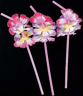 Simulated Silk Flower Straws Drinking Straws Tiki Luau Per Dozen Dozen Lei