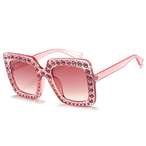Armear Luxury Crystal Sunglasses Oversized Square Women Shades UV Protection (Pink, 67)
