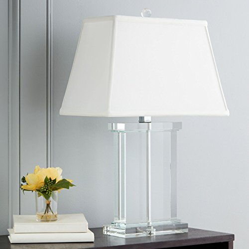 Modern Table Lamp Suitable For Side, End, Coffee Tables And Nightstands. Rectangular Column Lamp Provides Soft Light. Glass Crystal Base, White Shade And Chrome Accents Combine To Create Elegant (Crystal Rectangular Column)