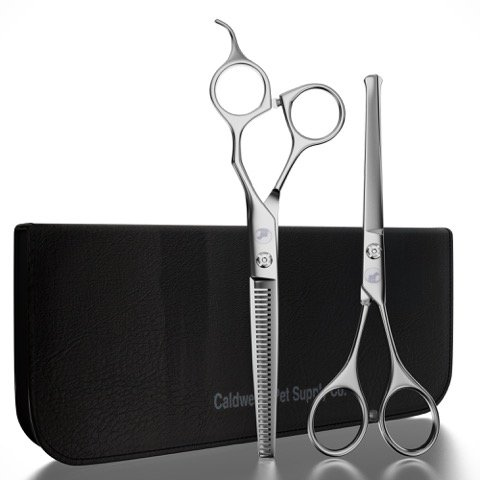 Caldwell's Long and Short Haired Cat and Dog Grooming Scissors - Set of Two - 1 Pair Pet Thinning Shears with 1 Pair Round Tip / Ball Tip Safe Edge Trimming Shears - Stainless Steel