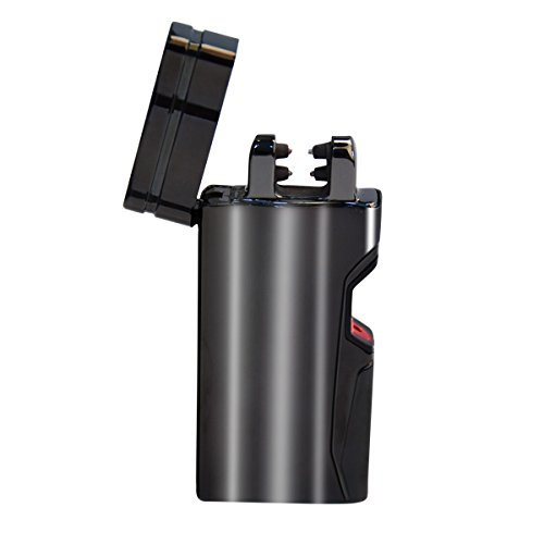Electric Lighter Dual Arc Black Metal USB Rechargeable Cigarette Camping Hiking Outdoor Lighter, Flameless Windproof Eco-Friendly Lighter, Fashion IR Laser Switch