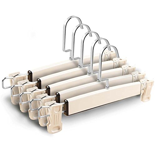 JOYORUN Plastic Pant Hangers with Clips Use for Skirt Hangers Clothes Hanger No Slip No Trace 5 (5 Pack Plastic Hangers)