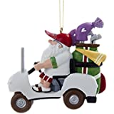 "Kurt Adler 3.25"" Resin Santa IN Golf Cart Ornament"