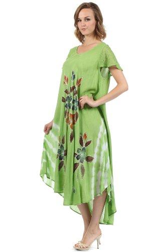Vert Mancheron Coton Robe Sakkas Floral Brod Peint 5wYXx5FqZv