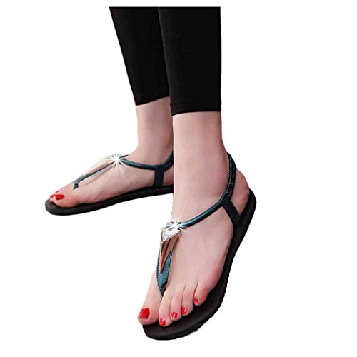 Summer Sandals, Inkach Women Diamonds Bohemia Sandals Peep-Toe Outdoor Flat Shoes Green