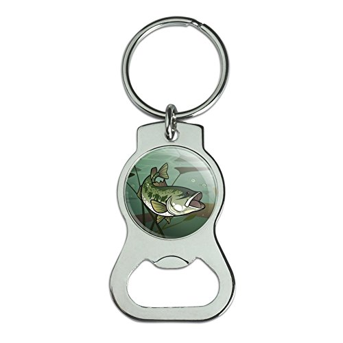 Graphics and More Bass Fish Swimming in River Bottle Cap Opener Keychain Key - Keychain Bass