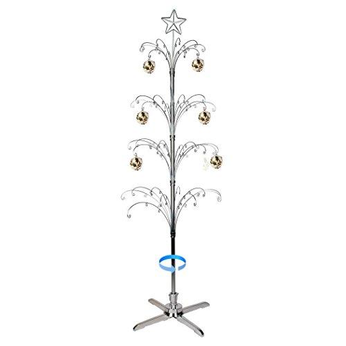 (HOHIYA Artificial Christmas Tree Rotating Metal Ornament Stand 90 Hooks 6 to 7 Feet(Silver))