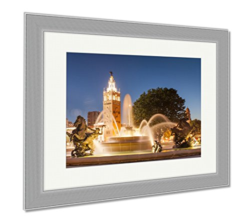Ashley Framed Prints Kansas City Missouri Fountain At Country Club Plaza, Wall Art Home Decoration, Color, 26x30 (frame size), Silver Frame, - Plaza Kansas City Country