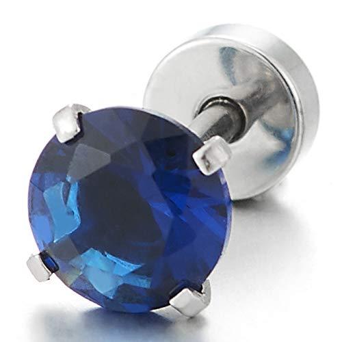 Mixte Couleur Noir Boucles doreilles Homme Femme 6MM Bleu Rond Zircon Cubique Clous doreille Acier Exquise