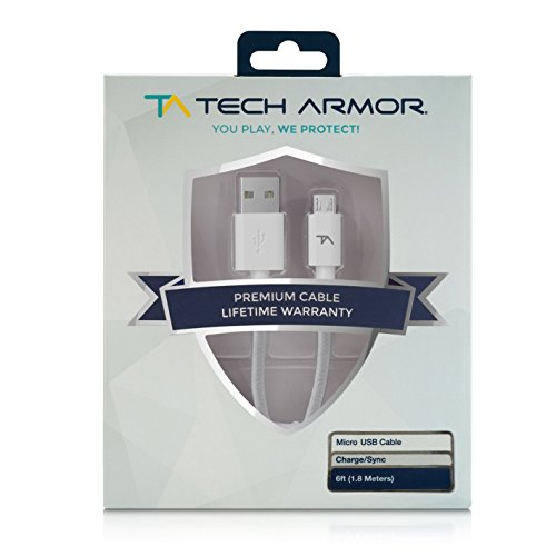 Tech Armor Hi-Speed USB Micro-USB Cable - 6FT - USB A to Micro-USB Cable - Sync and Charge Phone and More