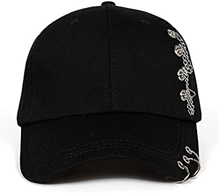 YIERJIU Gorra Gorras Beisbol Moda Anillo de Hierro Bola KPOP Sombreros Gorra de béisbol Ajustable Sombreros Moda Snapback Sombreros Mujeres Sombrero para el Sol Hombres,Black