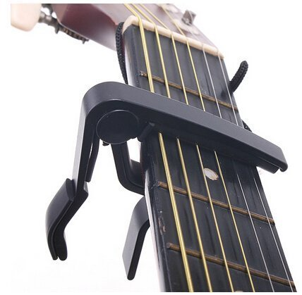 Quick Release Clamp Key Capo for Acoustic Electric Guitar with 2 Guitar Picks (Black)