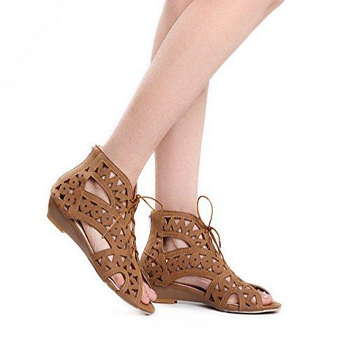 Chaussures pour Sandales YOUJIA Romain Compensées 1 à d'été Gladiateur Découpées Lacets Jaune Femme zXwdOfqw