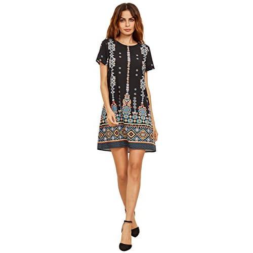 Milumia Women's Bohemian Aztec Print Ethnic Style Summer Shift Dress