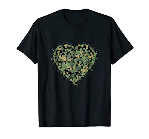 T-shirt White Heart Camo - Pixel Style Camo Colors Heart T-Shirt