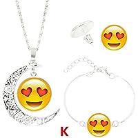 Hunputa Cute Emoji Carved Hollow out Crescent Moon Pendant Statement Chain Necklace Earrings Bracelet Set (4 pcs/Set) (K)