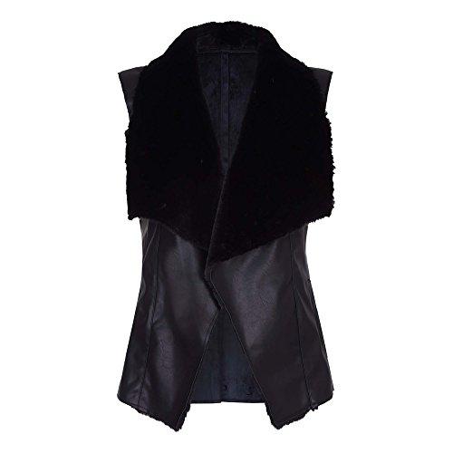 sintético Negro Chaleco London Mela con de cuello pelo mujer para 6YqFwz