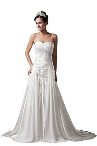 Ivory Sweetheart Neck (Albizia Ivory Sweetheart Neck Sheath Sequin Brides Wedding Dress 22 , Ivory)