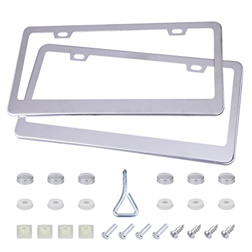 (CARTMAN 2 Holes License Plate Frame, Stainless Steel Car Licence Plate, 2 PCS with Screws Washers Caps for US Standard)