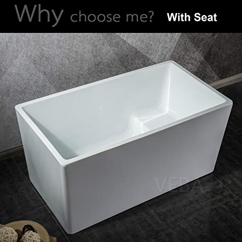 Discover Bargain 51 inch Rectangle Freestanding Tub with Seat, cUPC Certificated, Small Free Standin...