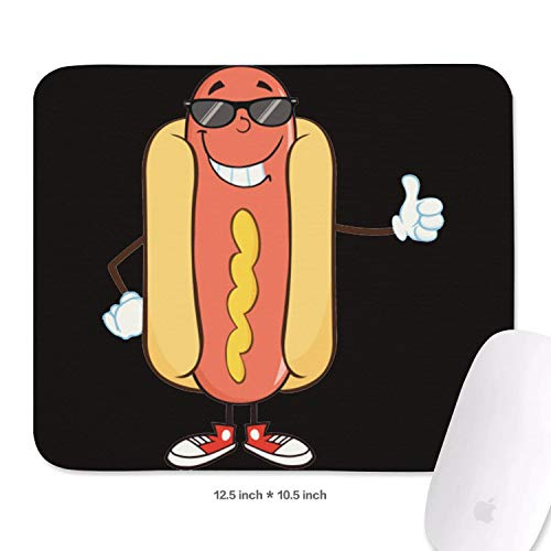 Family Game Office Wrist Rest Pad Hot Dog Clipart Bad Food Graphics Lightweight Non-Slip Rubber Rectangular Mousepad